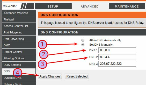 Setting DNS IP address to 8.8.8.8, 8.8.4.4, and 208.67.222.222